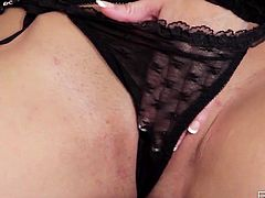 Wearing sexy black lingerie, busty brunette babe Taylor Vixen is having solo fun! She spreads her legs and starts fingering for a nice orgasm!