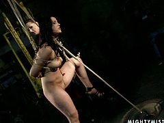 Bonerrific brunette slut gets her curvy body bandaged by rapacious domina before she squeezes her tits and legs with clothing pegs in peppering BDSM-involved sex video by 21 Sextury.