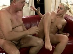 Blond haired nympho with natural tits provides horny gaffer with rimjob