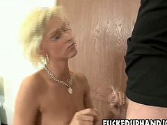 Thirsting for cum kinky tall blondie kneels down in front of the dude. She's ready to give him a tender handjob and solid blowjob plugging strong long cock deep into her mouth. Check her out in Pornstar sex clip to jerk off a bit for pleasure.