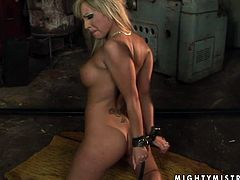 Booty and busty blond haired dykes practice bondage action in dark place