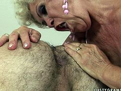 Spoiled blond mature gets her disgusting vagina tongue fucked by young lover before he drills her hairy twat in sideways position from behind in sizzling hot sex video by 21 Sextury.