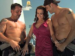 Brown-haired bombshell Cindy Dollar is having fun with two men outdoors. She sucks their schlongs hungrily and then gets double penetrated and splattered with jizz.