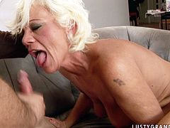 This mature woman is a super qualified whore. She sucks her lover's meat stick passionately paying special attention to his balls. Since that dick is already hard lustful slut jumps on top of it and rides it passionately.