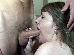Pandora is a mature, respectable lady but when she sees such a hunk she starts to drool for his cock. The bitch loses her minds and kisses him frenetically until she kneels and grabs his hard cock. The whore looks at his penis with lust and then begins to suck and swallow it. She really wants his jizz!