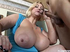 Two busty milfs share hard cock