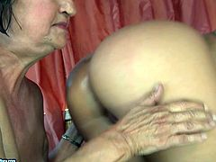 Short haired old fatso eats the fresh juicy pussy of kinky brunette