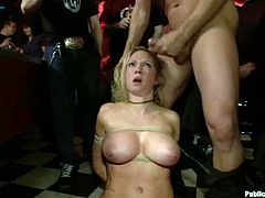 Sexy blonde chick with big boobs and ass lies on the pool table being tied up. Later on she gets fucked in her ass and pussy.
