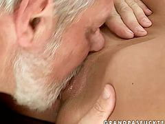 This incredibly horny blondie is a gifted cock sucker. She sucks that rock hard erection greedily with unrestrained passion and then she spreads her legs wide to let him get a taste of her delicious fanny.