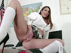 Turned on and very naughty brunette schoolgirl Brooklyn Chase with big round tits and delicious ass in sexy uniform plays with vibrator while teasing Will Powers in the class room