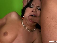 Sexy brunette Rebeca Linares is getting naughty with two studs indoors. She favours them with a terrific blowjob and then allows them to fuck her cunt and tight butt at the same time.