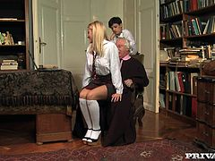 Cherry Kiss and Coco de Mal are two sex addicted babes. They give a double blowjob to their teacher and then play with each others pussies.