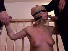 She gets belted on the stairway and then bondaged in the living room. Two cocks are the only pleasant things that Tara loved.