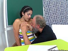 Nasty Indian chick Lara is having fun with some old dude indoors. She pleases the lustful guy with a blowjob and then lets him drill her pussy in all positions.