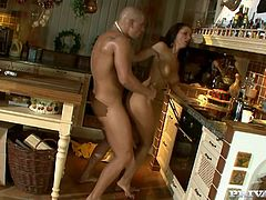 Man, you are not going to believe what happens in the kitchen in this porn video! Angel Dark gives her angelic body to this dude and he bangs her so hard.