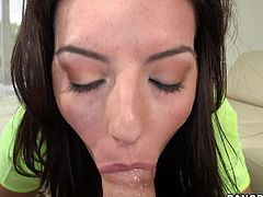 How delightful it is when a brunette babe with beautiful green eyes like Nikki Lavay stares at you while sucking your cock!