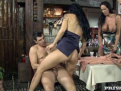 Dinner out with two smoking hot chicks Ars Amandi and Mandy Bright. Two milfs seduces two dudes at the restaurant and so the group sex takes place!