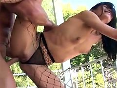 Make sure you don't miss this stunning brunette babe. She does anal sex in ripped up fishnet pantyhose and heels amazing when he sticks it deep into her tight booty!