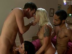 India Summer and Lorelei Lee are having a good time with two horny studs indoors. The cuties please each other with cunnilingus and show their cock-sucking talents to the men and then get their vags stunningly pounded.