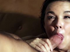 This delectable babe Dillion Harper can hypnotize any man with her big luscious tits! Sex-starved nymph sucks her boyfriend's dick passionately to make it hard and ready. Then she lets him get a taste of her delicious pussy. A bit later she gets into sideways position to let her lover control the penetration.
