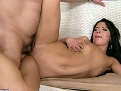 Kinky brunette bitch with small perky tits is getting her wet tasty pussy polished properly. Horny old perv enters tight clam in a missionary sex position pushing his cock deep.