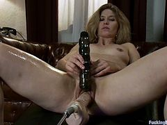 Adorable brown-haired milf Abby Darling is having a good time alone. She plays with her fucking machine and gets satisfied like never before.