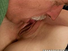 Kinky redhead girl loves fucking old men because the fact of huge difference in age turns her on as hell. So she seduces grey dude and gets serves him her tasty wet cherry.