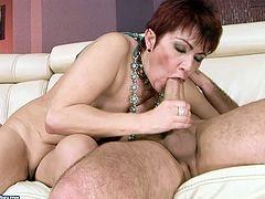 Luscious short-haired mature woman is penetrated in her wet cunt from behind. She gets her cunt drilled deep and pounded bad. Hardcore old young fuck scene presented by 21 Sextury.