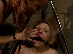 Rapacious domina ties a submissive blond whore to a metal triangle-shaped construction with her mouth gagged before she proceeds to dirty BDSM games.