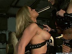 These chicks are two of the sexiest lesbians you'll ever see. Their big delicious tits and fine asses are worth salivating over. Sizzling hot gals tease each other tenderly and sensually in this hot BDSM sex video.