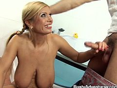 At the first sight, this blond mature lady looks like a sexy milf. She keeps herself pretty good then! And what she needs is a thick cock!