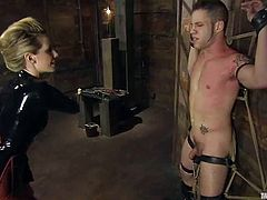 Some hot BDSM with a gorgeous blond mistress Maitresse Madeline and her slave Wolf Hudson! She is going to make him feel like he is so miserable!