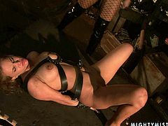 Green eyed brunette Aletta Ocean looks very tempting in her leather boots. Boobalicious mistress wants to teach this blondie some good manners and gives her lesbian friend a good ass whipping.