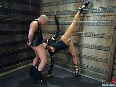 The sexy brunette slut Mia Bangg is going to get dominated in this bondage session packed with rough hardcore sex.
