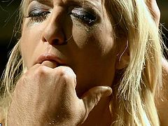 21 Sextury bondage sex clip is surely worth checking out. Pale slim blondie with small tits and smeared makeup is tied up with ropes. Horny dude puts a gag into her mouth and rubs jer clit madly.