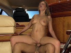 Slutty blonde Colette pleases some guy with a blowjob and lets him lick her shaved coochie. Then they bang in cowgirl position and also have ardent anal sex.