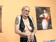 Sex hungry dude hooks up with a spoiled blond whore with dark lipstick and tattoos all over her body. She lies in front of him fully naked before she starts fingering her ruined cunt in sizzling hot sex clip by 21 Sextury.