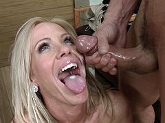 Two hardcore fuckers are banging slender blonde in her holes