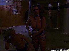 Golden shower watersports fetish slut drenched in hot golden piss