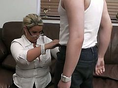 This British plumper with massive tits found a reason to get in this guy's house. He checked her out and got hard looking at her jugs. She sucked his cock and told him to fuck her rough.