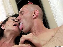 Shabby looking old brunette BBW welcomes tongue fuck of her bearded cunt from young dude before she pays him back with a zealous blowjob in peppering sex video by 21 Sextury.