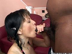 This girl is very impressed by her lover's BBC. She sucks that rock hard erection greedily and then she rides his dick cowgirl style.