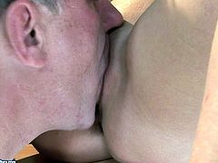 Don't pass by this steamy 21 Sextury xxx clip. Kinky blondie with small tits lures her teacher, kisses him passionately and spreads legs wide to enjoy cunnilingus right on the desk.