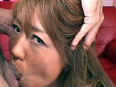 Dirty naked Japanese hoe ready for a pussy bang after giving hot blowjob