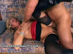 Mature blonde likes to have dirty sex fun with young dudes. She looks hot in sexy stockings and lingerie. Young guy penetrates her pussy in doggy and missionary styles.