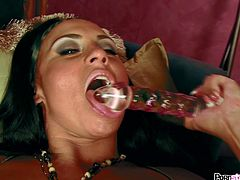 Beautiful brunette pornstar likes to play nasty with her large glass toy