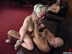 Double Penetration in BDSM MMF Threesome with Blonde Lorelei Lee