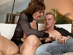 Lusty granny is wearing sassy outfit looking like trashy street walker. Mature woman seduces the guy for old young fuck session. She sucks his dick deepthroat showing off her skills she gained throughout her long life experience.