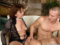 Dirty mature woman seduces young stud for sex and gives hot blowjob
