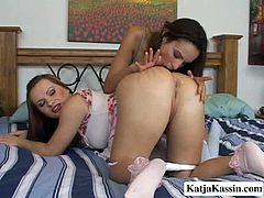 Sexy looking brunette goes wild with her lesbian girlfriend. She throws her legs over head and she dives between pussy lips and licks her tasty looking anal hole.
